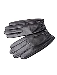 Oncefirst Men's Touchscreen Outdoor Genuine Leather Gloves Black