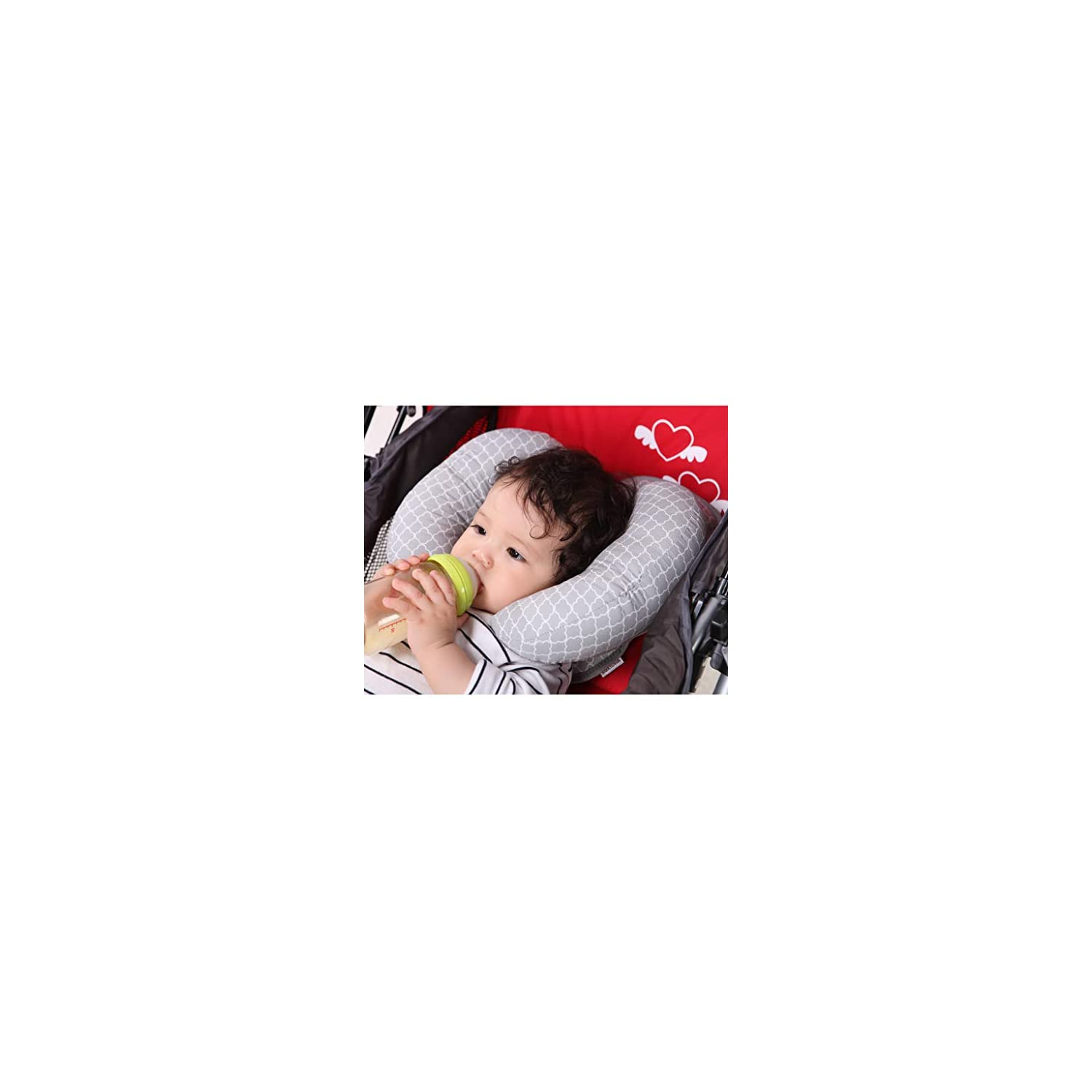 KAKIBLIN 2 in 1 Anti Flat Head Pillow with Banana Neck Pillow for 3 Months to 1 Years Baby Travel Pillow for Stroller, 27x21cm