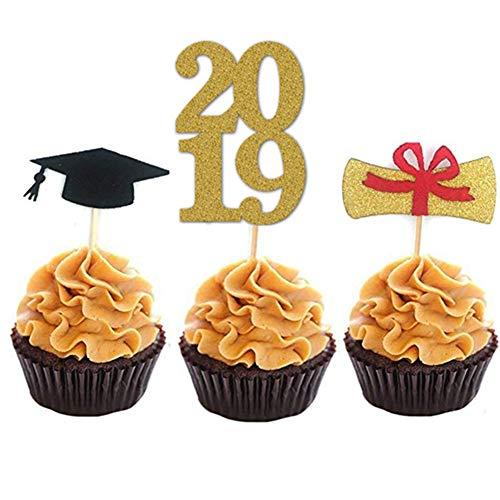 40 pcs Graduation Theme Party Cupcake Topper Picks 2019