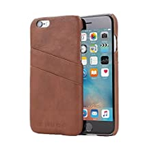 iPhone 6 Plus and 6S Plus Case, Snugg Brown Leather Ultra-Slim Case Cover [Dual Card Slots] Apple iPhone 6 Plus and 6S Plus Protective Back Cover