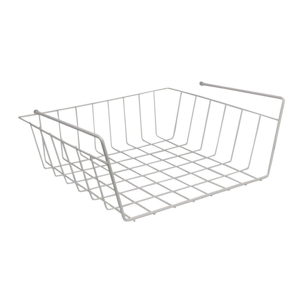 Under shelf basket wire rack white slides on large wire baskets