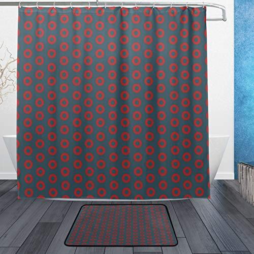 DJROW Fishman Donut Stripes Print Shower Curtain and Bath Rug Set,Includes 72
