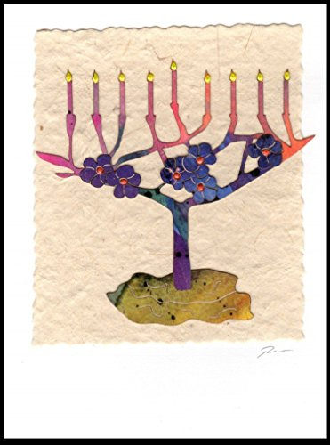 895 Menorah with Flowers Handmade Greeting Card