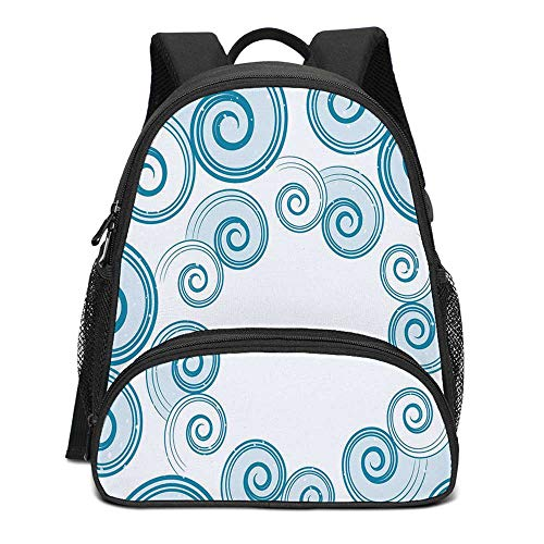 Teal and White Durable Kids Backpack,Ocean Waves Inspired Design with Abstract Blue Swirls Water Sea Spirals Decorative for School Travel,10