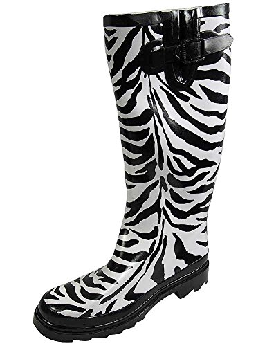 Sunville Women's Mid Calf Waterproof Rubber Garden Rainboots Zebra