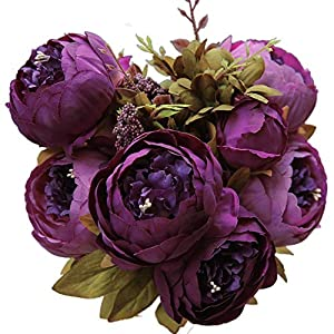 Vintage Artificial Peony Silk Flowers Bouquet Home Wedding Decoration European Core Simulation Flower Peony Flower Home Wedding Western Rose Fake Flower (Color : Purple) 77