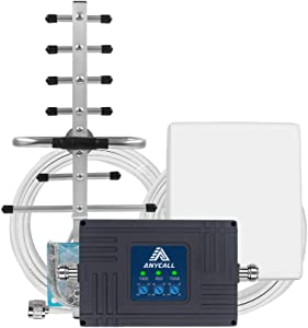 Cell Phone Signal Booster for Home and Office - Tri Band Repeater Amplifier Kit for AT&T Verizon Straight Talk 3G Voice 4G LTE Data.(Band 2/5/12/17)