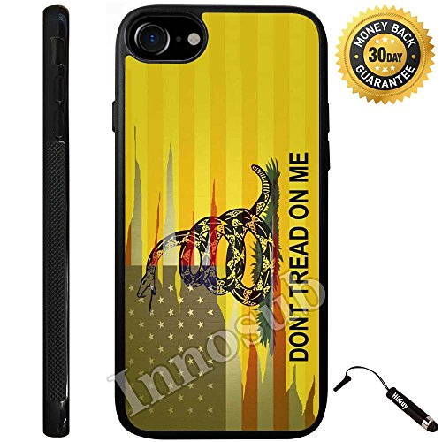 Custom iPhone 8 Plus Case (Dont Tread On Me Best Flag) Edge-to-Edge Rubber Black Cover with Shock and Scratch Protection | Lightweight, Ultra-Slim | Includes Stylus Pen by INNOSUB