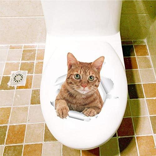 Ver 3D Gatos Amarillos Etiqueta de la Pared Cuarto de baño Sala de ...