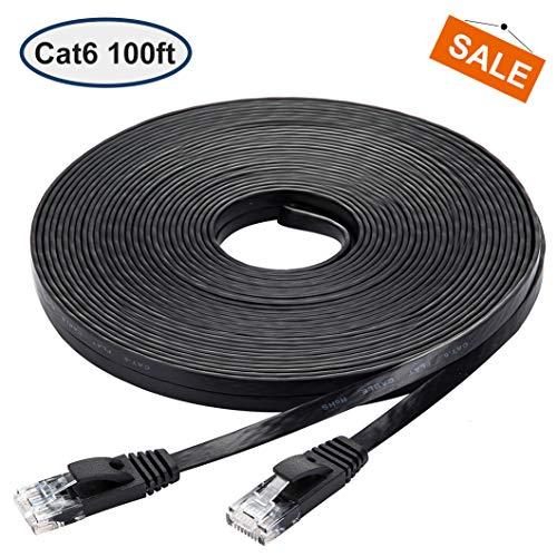 Cat 6 Ethernet Cable 100 ft, Black Flat Cable with Clips, High Speed Internet Network Cable, Faster Than Cat5e Cat5