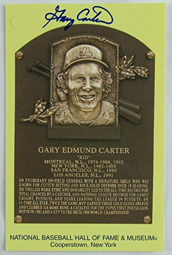 Gary Carter Signed Auto Autograph Scenic Art HOF Plaque Postcard - MLB Cut Signatures from Sports Memorabilia