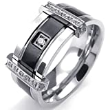 Bishilin Stainless Steel Fashion Men's Rings Charm Elegant CZ Ring Silver Size 9