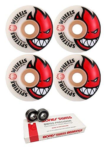 連邦症状温度52 mm Spitfire Wheels BigheadスケートボードWheels with Bones Bearings – 8 mm Bones Swiss Skateboard Bearings – 2アイテムのバンドル