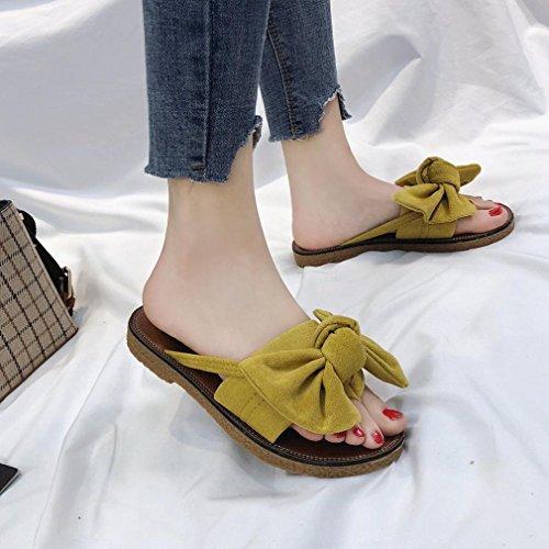 Serpent Arc Cravate Ado Talon De Ouvertes Semi Garcon Pantoufles Sandales Couleur Chaussures Plage Jaune Solid femmes Beautyjourney FvxPznqtP