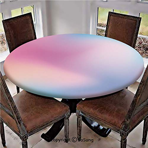 Elastic Edged Polyester Fitted Table Cover,Abstract Blurry Colors Composition Sweet Daydream Fantasy Miscellaneous Decorative,Fits up 45