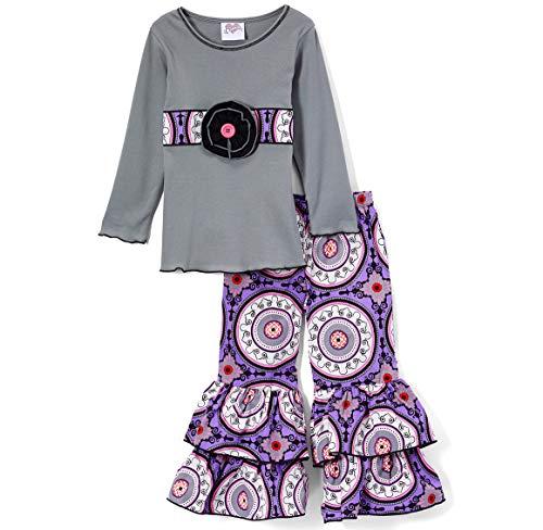 AnnLoren Little Girls 4/5T Boutique Grey Tunic and Purple Medallion -