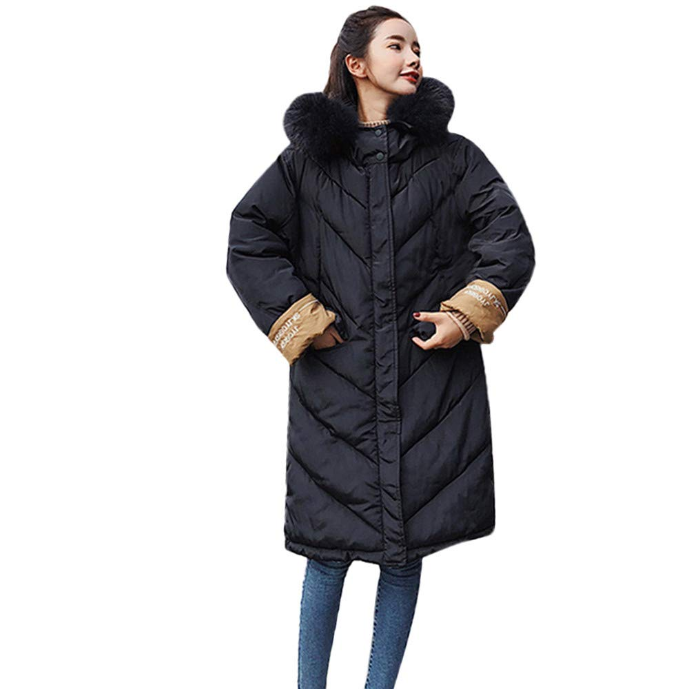 Women Plush Hooded Coat Long Cotton-Padded Down Jackets Pocket Parka Coats Outerwear (2XL, Black)
