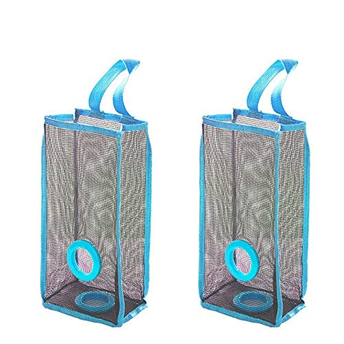 lotus.flower 2PCs Mesh Garbage Bag- Folding Hanging Storage Bag -Plastic Bag Holder Dispensers-Recycling -Trash Bags-Small Things Containers (2PCs)