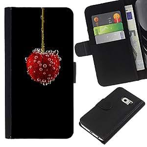 KLONGSHOP // Tirón de la caja Cartera de cuero con ranuras para tarjetas - vishnya Yagoda puzyrki - Samsung Galaxy S6 EDGE //