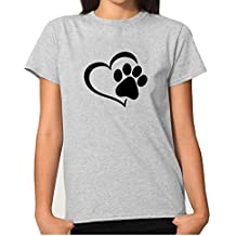 Rfecccy Funny Cute Love Dog Paw Print Short Sleeve Crew Neck T-Shirt For Women