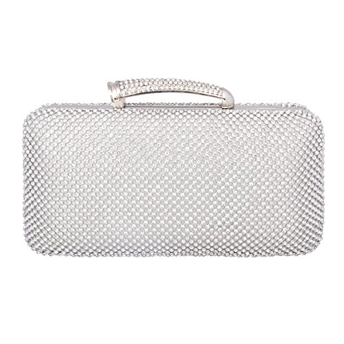 Adoptfade Ladies Clutch Bag Glamour Rhinestones Clasp Evening Bag For Women, Silver (Beaded Glamour Clutch)