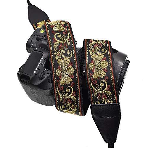 CLOUDMUSIC Camera Strap Jacquard Weave Neck Strap for Girls Men Women Floral Series (Metallic ()