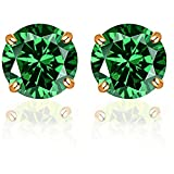 14k Solid Yellow Gold 5mm Round-Cut Emerald CZ Stud Earrings by Orchid Jewelry