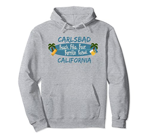Unisex Carlsbad Hoodie Surfer San Diego California Men Women Large Heather Grey