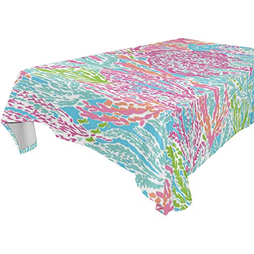 Table Cloth Lilly Pulitzer Pattern Rectangle/Oblong Polyester Tablecloth Washable Table Cover for Holiday Dinner, Wedding, Restaurant Party