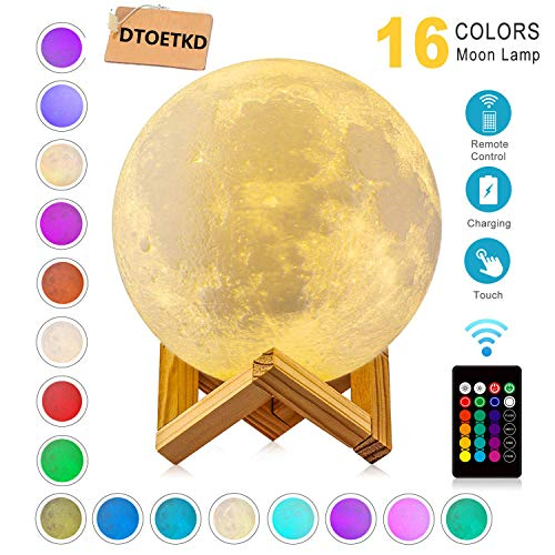 Moon Lamp 3d Printing 16 Colors Moon Light with Stand