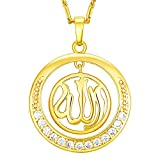 Skyjewelry Round Allah Pendant Necklace 18K Gold Plated Chain Muslim Jewelry