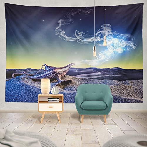 sic Magic Lamp Desert Night Scene Desert Lamp Antique Desire Dream Fantasy Gold Golden Hanging Tapestries 50 x 60 inch Wall Hanging Decor for Bedroom Livingroom Dorm ()