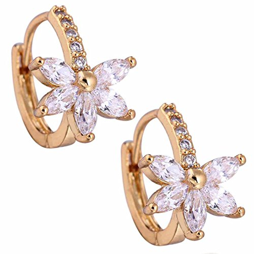 Yazilind Charming Smooth 18k Gold Plated Folower Design Inlay Round Oval Cubic Zirconia Small Hoop Earrings for Women