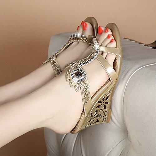 Señoras sandalias de cuero con pendiente toe zapatillas Sandalia de Verano 39 gold golden