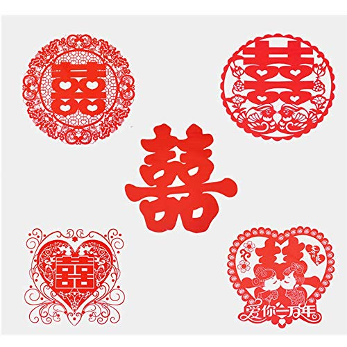 Recommended Good quality Wedding Supplies Wedding hi Word electrostatic Stickers Wedding Room Decoration Wedding Layout hi Word Stickers Glass Cartoon Stickers Window Flower Five Styles [20 Pack]