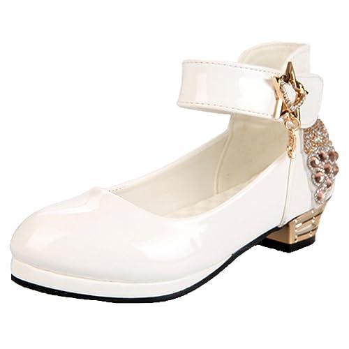569cf6c95efe6 OPSUN Sandales à bride Enfants Filles Chaussure Cérémonie Ballerines à bout  ouvert Mariage Escarpin plat Babies