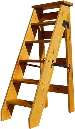 Taburete de Escalera Multifuncional Plegable de 6 Pasos, Silla de Escalera de Escalera de Madera Ascendente, Herramienta de jardín de casa portátil de Servicio Pesado. Carga Máxima 150kg: Amazon.es: Hogar