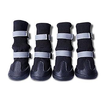 UEETEK 4pcs impermeable Botas para mascotas Zapatos de mascotas perro  Protector de la pata para los perros de tamaño medio a grande - tamaño XL ( negro)  ... c39d42e2e71