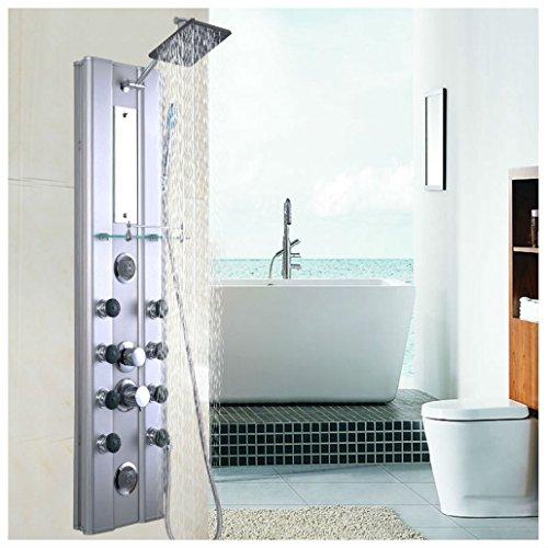 "46"" Bathroom Aluminum Shower Panel Thermostatic Tower w/ 10 Massage Jets"
