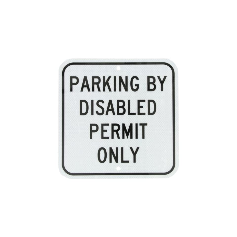 Accuform Signs FRA193RA Engineer Grade Reflective Aluminum Handicap Parking Sign, For Florida, Legend PARKING BY DISABLED PERMIT ONLY, 12 Width x 12 Length x 0.080 Thickness, Black on White