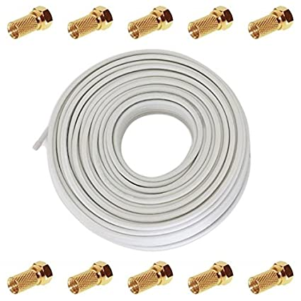 50m TV y Satélite Cable Coaxial 130dB 4x blindados ; DIGITAL 3D HD