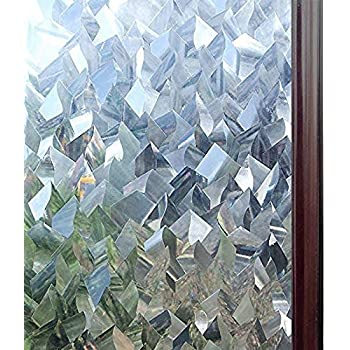 rabbitgoo Privacy Window Film 3D Crystal Icicles Stained Glass Film No Glue Static Cling Window Covering Anti-UV Window Sticker Self-Adhesive Vinyl Glass Film for Home Office 35.4 x 78.7 inches
