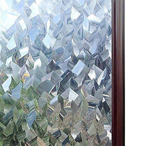 Rabbitgoo Privacy Window Films 3D Crystal Icicles Effect No Glue Static Cling Glass Window Films Bathroom Front Doors Window Covering Film 17.5 x 78.7 inches (1.46 x 6.56 feet)