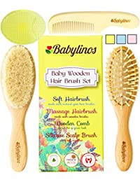 BabyLinos 4 Piece Wooden Baby Hair Brush Set with comb and Ultra Soft Silicone Scalp Shampoo Brush for Newborns and Toddlers, Natural Goat Bristles for Cradle Cap, Perfect for Baby Registry (Yellow) BOBEBE Online Baby Store From New York to Miami and Los Angeles