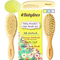 BabyLinos 4 Piece Wooden Baby Hair Brush Set with comb and Ultra Soft Silicon...