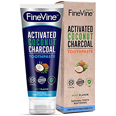 Charcoal Teeth Whitening Toothpaste - Made in USA - REMOVES BAD BREATH and TOOTH STAINS - Best Natural Tooth Whitener Product- Mint flavor. (Toothpaste) (Toothpaste)