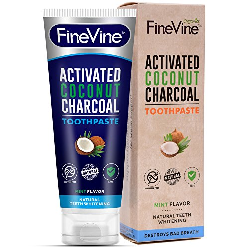 Charcoal Teeth Whitening Toothpaste - Made in USA - WHITENS TEETH NATURALLY and REMOVES BAD BREATH - Best Natural Vegan Organic Toothpaste from FineVine