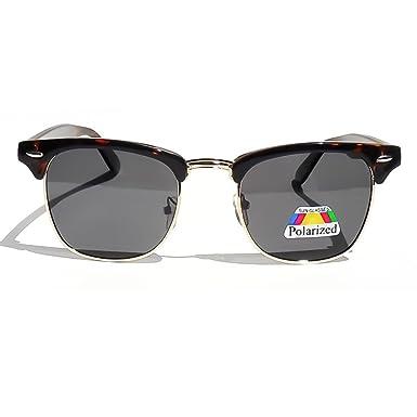Kuss ®-Polarized Sonnenbrille Männer Frauen Unisex: VINTAGE Hipster CLUBMASTER polarisiert - SCHWARZ e2Dpi