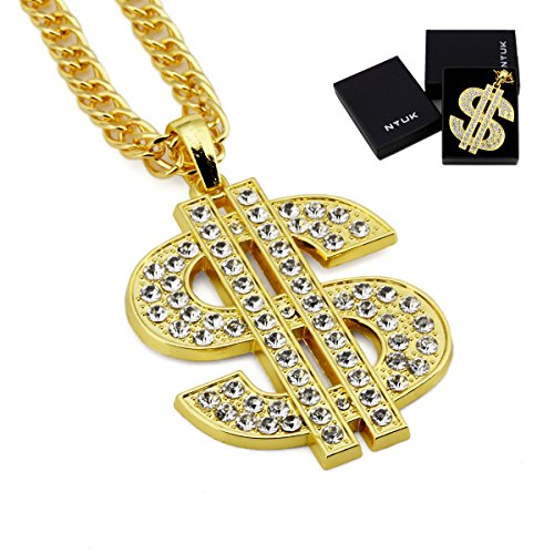 Out Gold Hip Hop Chain (NYUK Mens Gold Chain Dollar Pendant Hip Hop Rhinestone Necklace(Gold))
