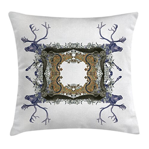 Lake Violet Pearl (Victorian Throw Pillow Cushion Cover by Ambesonne, Frame with Two Girl Flying to Two Owl Two Hunter Animal Wildlife Jungle, Decorative Square Accent Pillow Case, 28 X 28 Inches, Violet Tan Pearl)